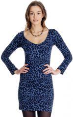 Robe courte Bleue à manches longues Ethnique Graziella 287144