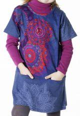 Robe courte bleue avec des poches pour fille 287260