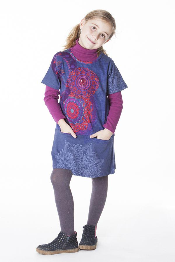 Robe courte bleue avec des poches pour fille 287261