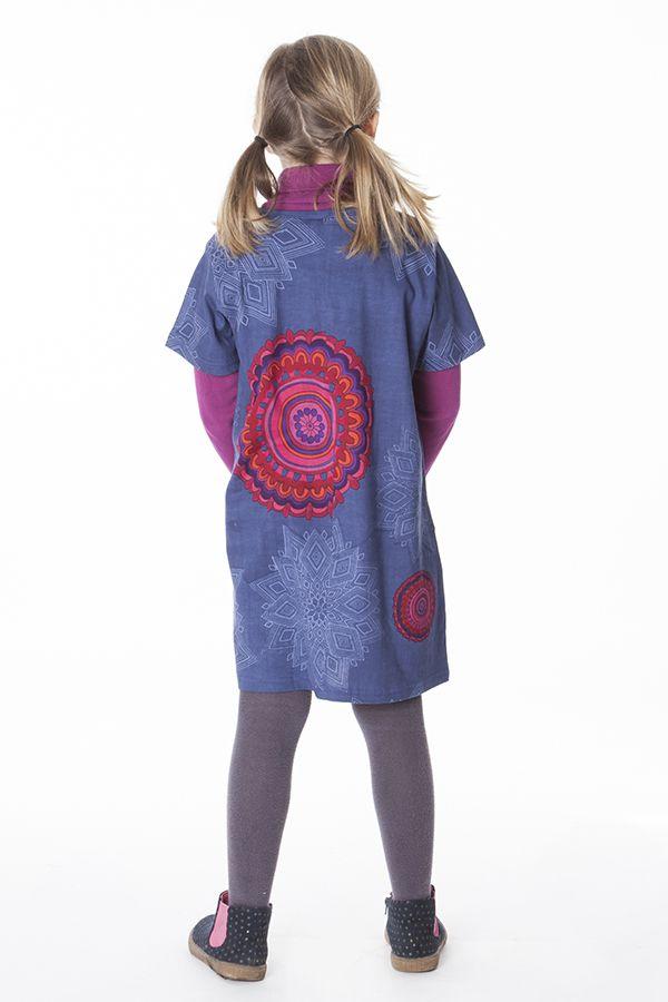 Robe courte bleue avec des poches pour fille 287262