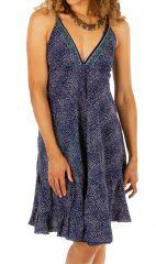 Robe courte bleue décolletée à fines bretelles Michelle 314261