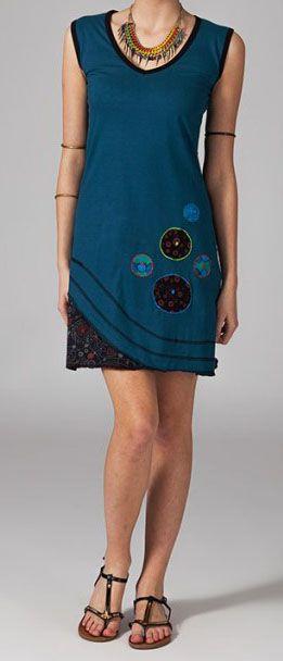 Robe courte bleue en coton Cyrilia 269036