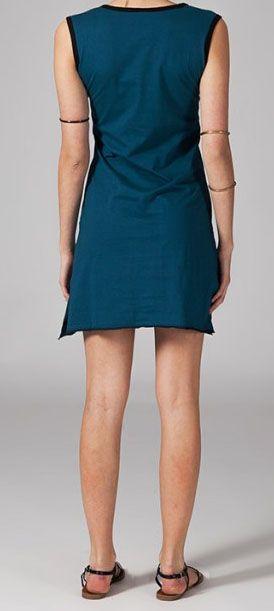 Robe courte bleue en coton Cyrilia