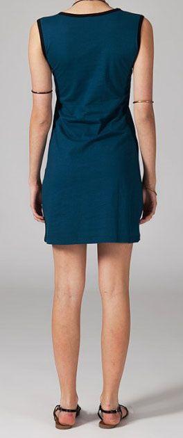 Robe courte bleue en coton Wafa