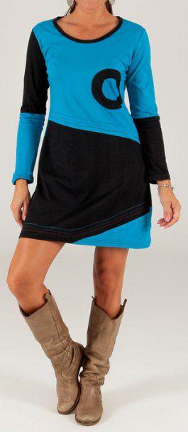 Robe courte Bleue et Noire Ethnique et Originale Ischia 279731