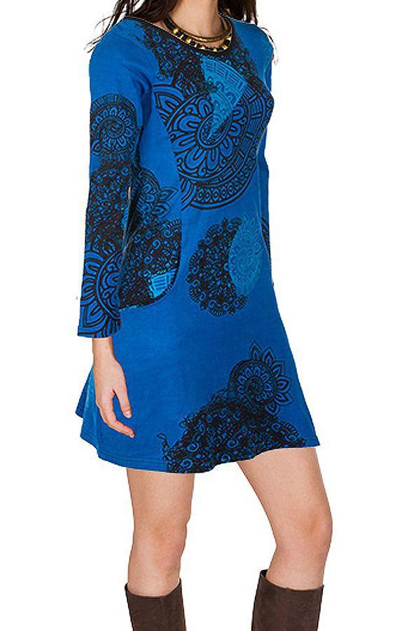 Robe courte Bleue imprimée à col rond et manches longues Tory 299124