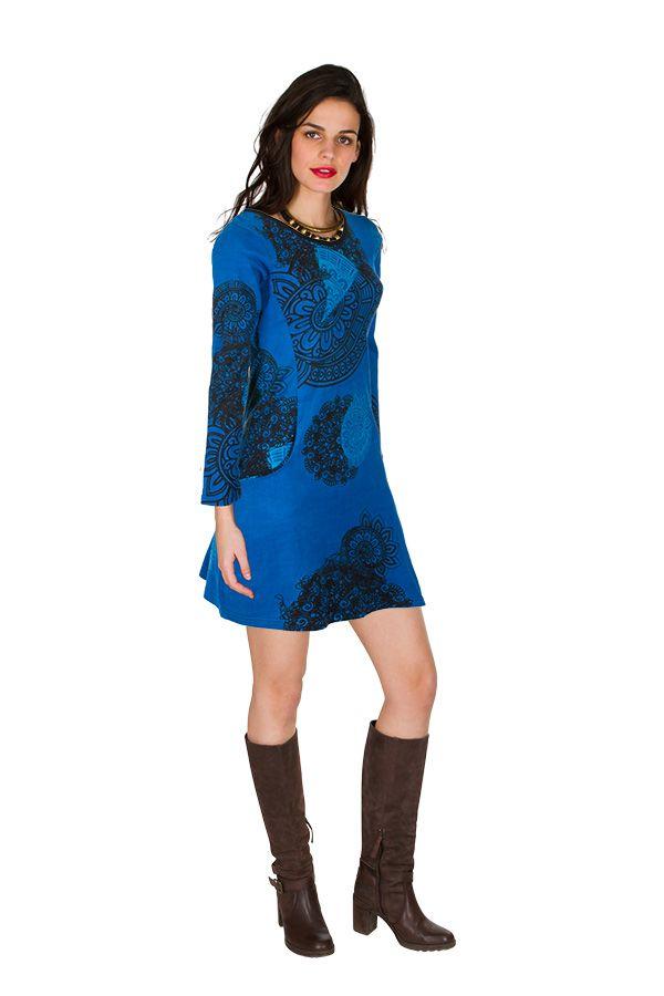 Robe courte Bleue imprimée à col rond et manches longues Tory 299125