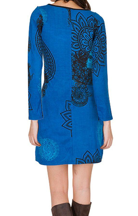 Robe courte Bleue imprimée à col rond et manches longues Tory 299126