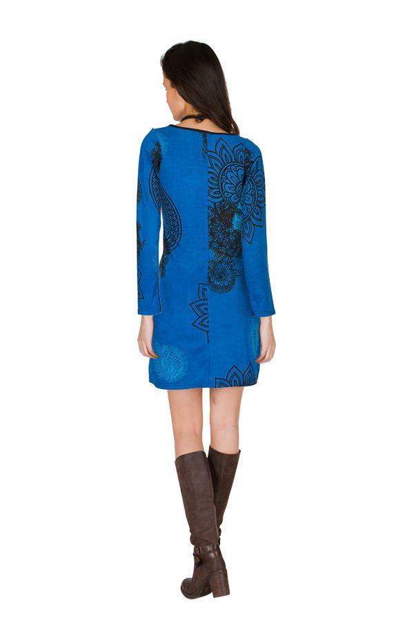 Robe courte Bleue imprimée à col rond et manches longues Tory 299127