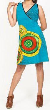 Robe courte bleue imprimée ethnique col en V Roumble 271628