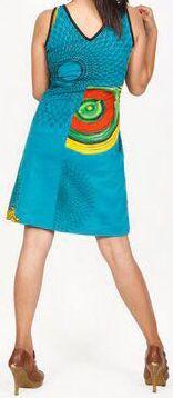 Robe courte bleue imprimée ethnique col en V Roumble