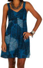 Robe courte bleue originale à bretelles larges Magali