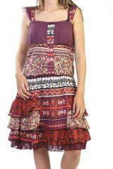 Robe courte bohème en voile de coton rouge 287876