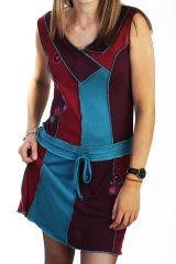 Robe courte brodée avec un assemblage de tissus colorés 288057