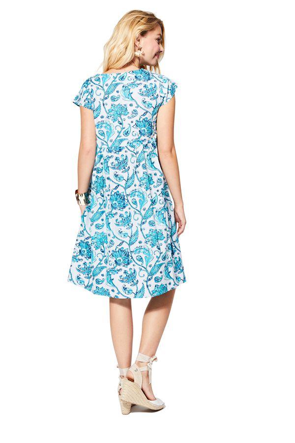 Robe courte chic bleue à fleurs pour femme pour cérémonie bohème Henriette