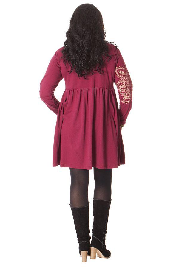 Robe courte Chic et Ethnique en grande taille Nyasia Framboise 286120