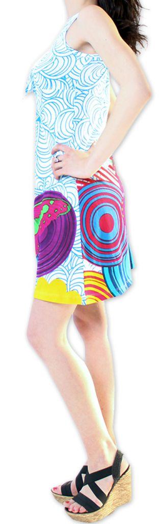 Robe courte Col en V Originale et Colorée Ana Blanche 276661