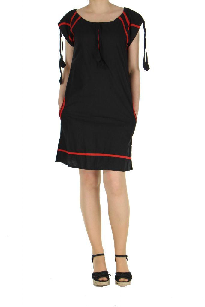 Robe courte col rond noire et rouge Fidgie 267375