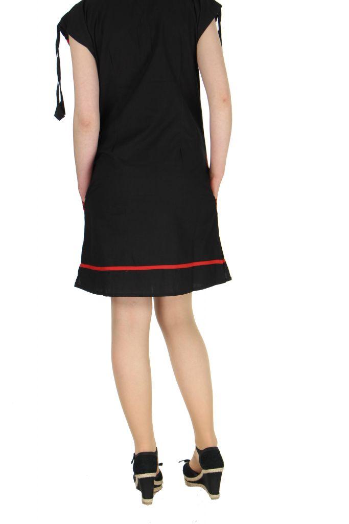Robe courte col rond noire et rouge Fidgie 267376