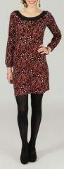Robe courte col rond originale et imprimée Rouge/Noir Léandre 273878