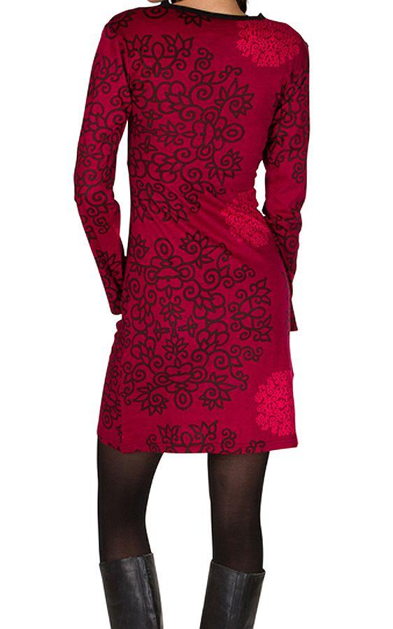 Robe courte col style cache-coeur et imprimés Fuchsia Eponnie 301734