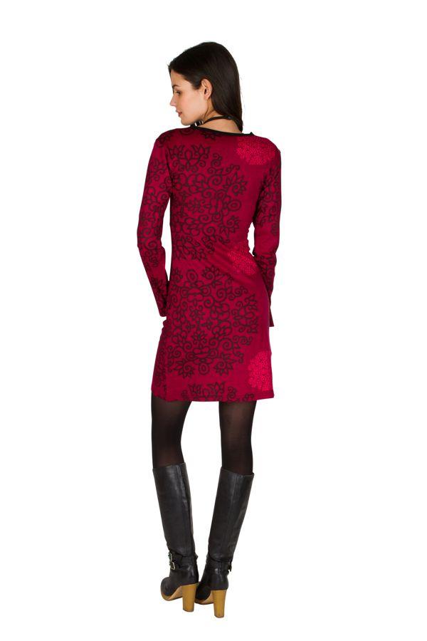 Robe courte col style cache-coeur et imprimés Fuchsia Eponnie 301735