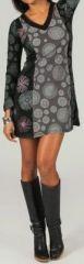 Robe courte col V ethnique et imprimée Noire et grise Liberty 273943