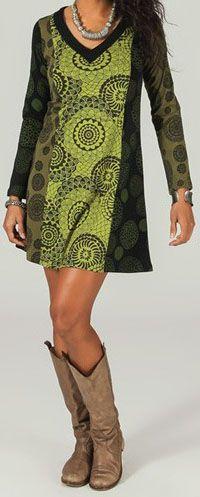 Robe courte col V ethnique et imprimée Verte Liberty 273945