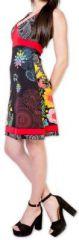 Robe courte col V ethnique et originale Noire Serrena 273621