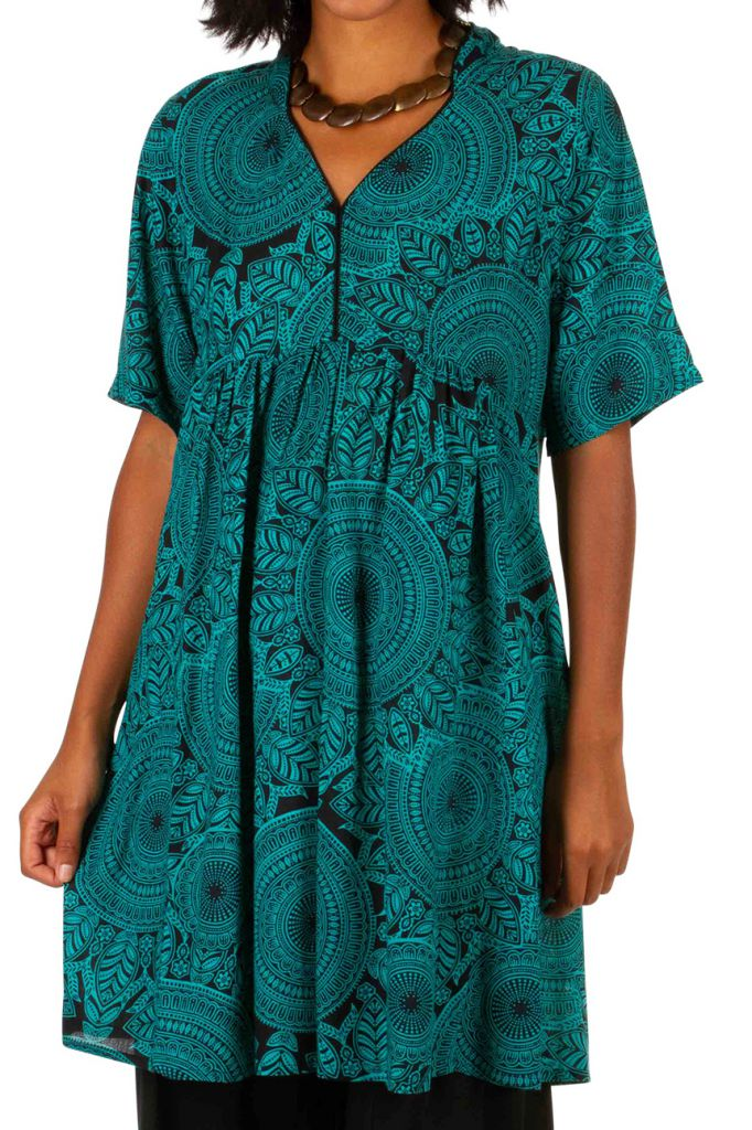 Robe courte colorée à manches courtes effet plissé Zarah 306333