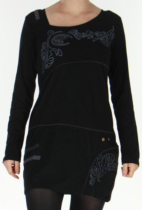 Robe courte Colorée à manches longues et à col Original Assa Noire 277949