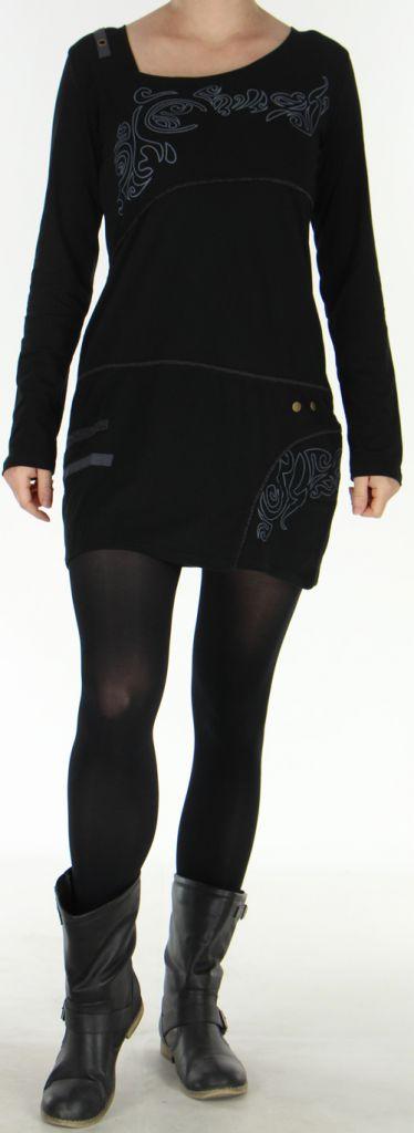 Robe courte Colorée à manches longues et à col Original Assa Noire 277950