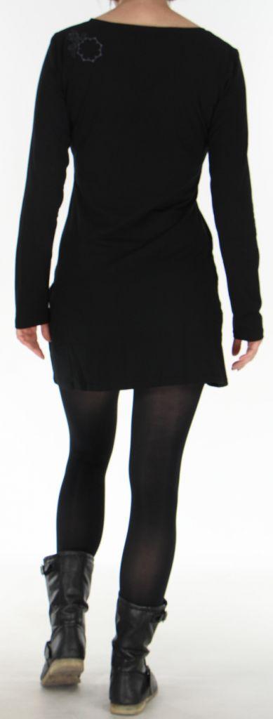 Robe courte Colorée à manches longues et à col Original Assa Noire 277951