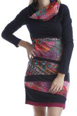 Robe courte colorée et imprimée à col large Noire Dalia 302527
