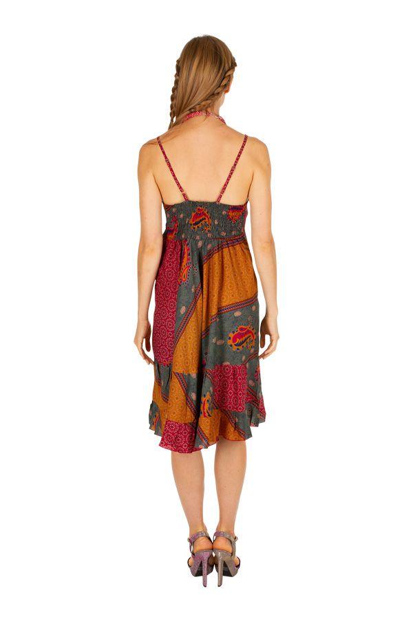 Robe courte colorée et originale à fines bretelles Shelby