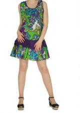 Robe courte colorée violet Natia 267191