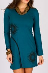 Robe courte d'automne originale pour femme Alevia pétrole 315037