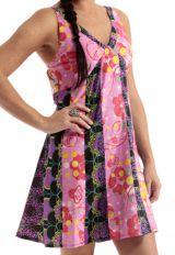 Robe courte d'été à bretelles Rose Imprimée et Tendance Kapila 285879