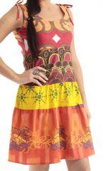 Robe courte d'été à bretelles Rouge Colorée et Imprimée Lohendra 285893
