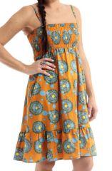 Robe courte d'été à fine bretelles Orange Ethnique et Originale Akshay 285881