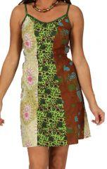 Robe courte d'été à fines bretelles Verte Originale et Ethnique Unckoa 285911