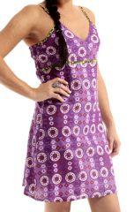 Robe courte d'été à fines bretelles Violette Imprimée et Stylée Marwa 285887