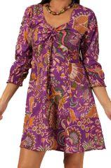 Robe courte d'été à manches 3/4 Violette Tendance et Colorée Tisya 285863
