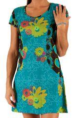 Robe courte d'été à manches courtes Imprimée et Colorée Bleue Nidal 285943