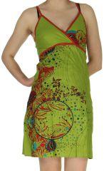 Robe courte d'été à smock Originale et Colorée Lynda Verte 279247