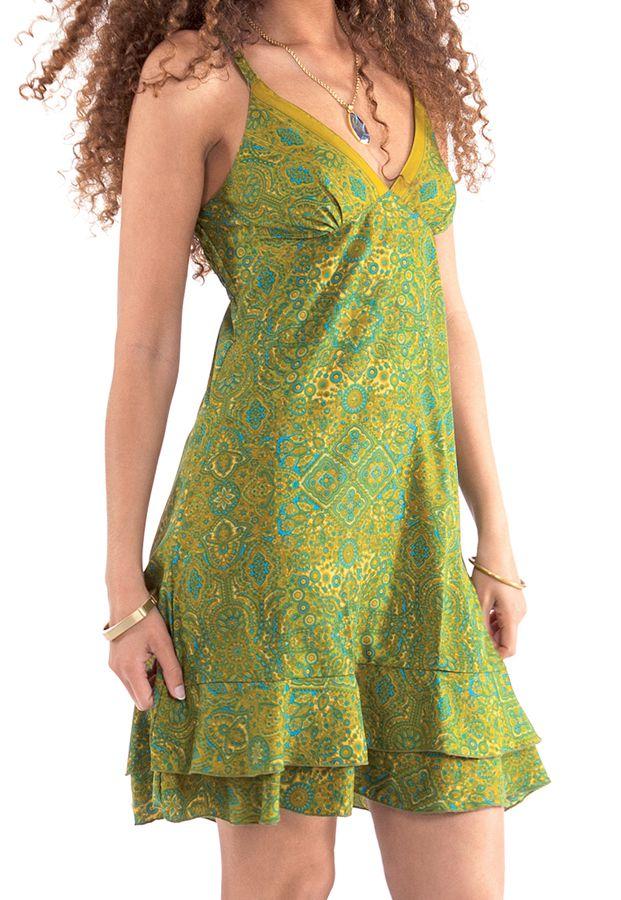 robe courte d ete a volants ethnique et imprimee celine verte. Black Bedroom Furniture Sets. Home Design Ideas