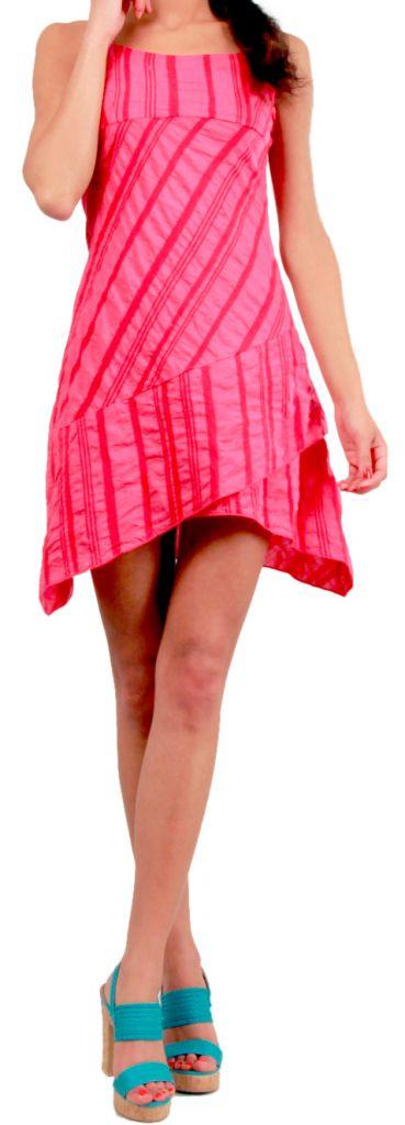 Robe courte d'été Asymétrique et Ethnique Ibizza Rose 277035