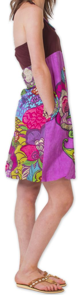 Robe courte d'été Bicolore Ethnique et Colorée Balon Marron 276823