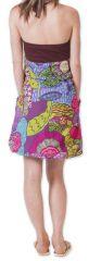 Robe courte d'été Bicolore Ethnique et Colorée Balon Marron 276824