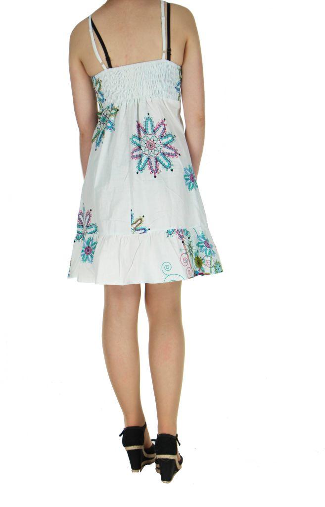 Robe courte d'été blanche col en V Laureen 267701